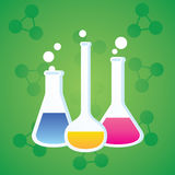 Test Tube. Green background in different ways to test tubes Stock Photography