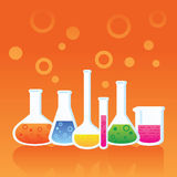 Test Tube. Orange background in different ways to test tubes Stock Photo