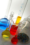 Test tube. Chemical flasks test tubes analysis Royalty Free Stock Photography