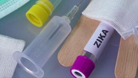 Test tube for analyzing ZIKA virus. Zika virus concept footage with test tube stock video
