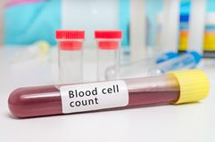 Test tube with blood for Blood cell count test royalty free stock images