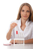 Test tube with blood sample in doctor hand Royalty Free Stock Photos