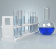 Test-tube with blue liquid . Computer generated Stock Image