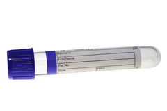 Test tube with blue plug Stock Images