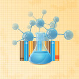 Test tube  and books Royalty Free Stock Image