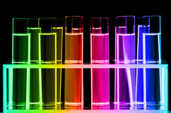 Test Tube in Close-up on Black Background. Royalty Free Stock Image
