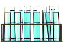 Test Tube in Close-up on White Background. Royalty Free Stock Photo
