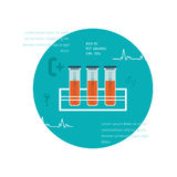 Test tube flat icon. Online medical diagnosis and Stock Images
