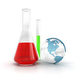 Test tube and globe Royalty Free Stock Images