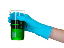 Test tube and hand in laboratory Stock Images