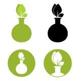 Test tube with leaf icon. Stock Photos