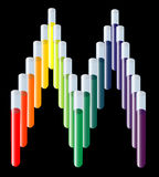 Test tube medical logo. Rainbow test tubes in the shape of letter M for medical Stock Images
