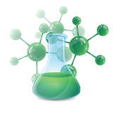 Test tube and the molecule Royalty Free Stock Photography