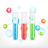 Test-tube with molecule Royalty Free Stock Photos