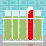 Test Tube Results. Five scientific or medical test tubes, one turned red and foaming Stock Illustration