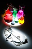 Test tube Scene. Labor scene with testtubes and beaker and glasses, safety first Stock Photo