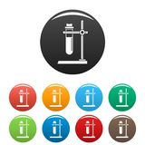 Test tube stand icons set color vector illustration