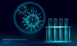 Test tube virus 3D low poly render. Laboratory analysis infection chronic disease Hepatitis virus influenza flu infect vector illustration