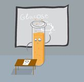 Test tube writes glucose formula on the blackboard Royalty Free Stock Image