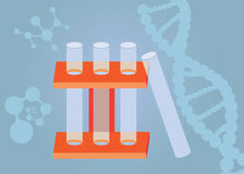 Test tubes. Three test tubes with shapes of atoms and DNA at the background royalty free illustration