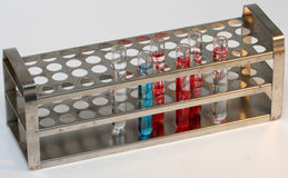 Test tubes. Vials contianing chemicals royalty free stock photography