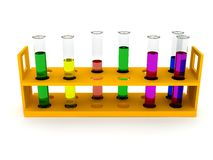 Test tubes any color over white royalty free stock images