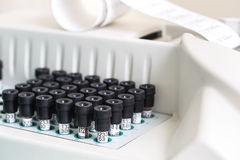 Test tubes arranged on medical trolley Royalty Free Stock Photos
