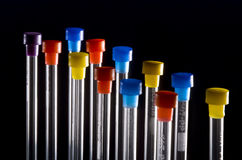 Test tubes on black Royalty Free Stock Images