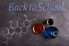 Test tubes on the black chalkboard. Back to school concept Stock Photo