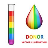 Test tubes with blood and drop in rainbow style. Stock Photos