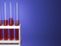 Test Tubes on Blue Background. Stock Image