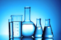 Test-tubes blue colors Royalty Free Stock Images