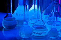 Test tubes in blue light Royalty Free Stock Photo