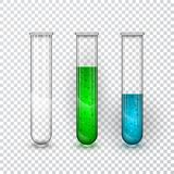 Test-tubes, Chemical laboratory transparent flask with liquid. Vector illustration royalty free illustration