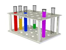 Test tubes with chemical reactants of various colo Royalty Free Stock Photo