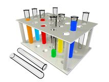 Test tubes with chemical reactants of various colo Royalty Free Stock Photos