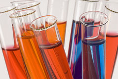 Test tubes close-up Stock Images