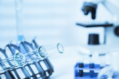 Test tubes closeup..medical glassware.Pipette Stock Photo