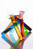 Test tubes with colored liquid on a white background Royalty Free Stock Photo
