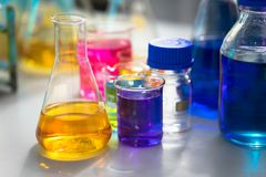 Test tubes with colorful chemicals.  Stock Photo
