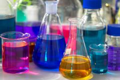 Test tubes with colorful chemicals.  Royalty Free Stock Photo