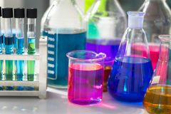 Test tubes with colorful chemicals royalty free stock image
