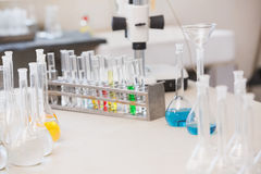 Test tubes with colorful fluid inside Royalty Free Stock Photos