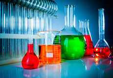 Test tubes with colorful liquids Stock Image
