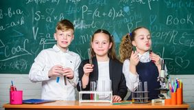 Test tubes with colorful substances. School laboratory. Group school pupils study chemical liquids. Girls and boy royalty free stock image