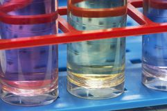 Test tubes with different chemicals Royalty Free Stock Photo