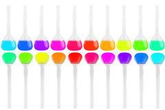 Test-tubes of different shapes with multi-colored liquids isolated on white background. Medicine, Chemistry. Horizontal frame Royalty Free Stock Photo