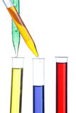 Test tubes and dropper. On white royalty free stock photos