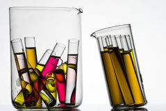 Test tubes filled with colored liquids Royalty Free Stock Photo