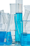 Test-tubes, flasks with blue liquid Royalty Free Stock Images